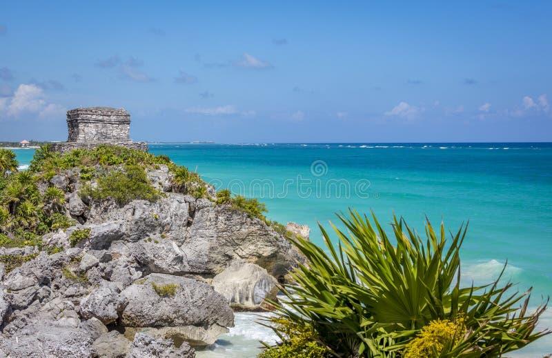 在Tulum的玛雅废墟在海滨del卡门,墨西哥附近 库存图片