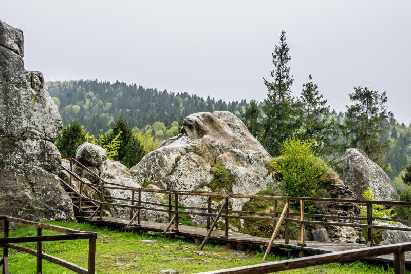 在Tustan顶部ruines  免版税库存照片