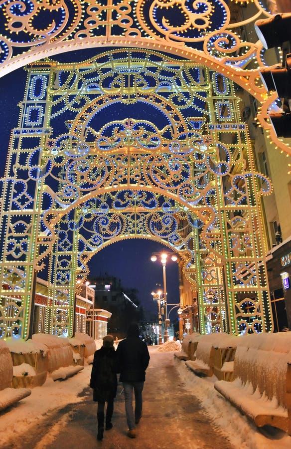 在Tverskaya街道上的圣诞节和新年2019装饰在莫斯科 免版税库存图片