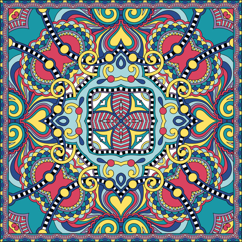 在u的地道丝绸围巾或方巾方形的样式设计. 正方形, 证实.图片