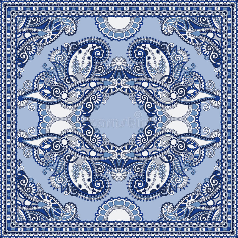 在u的地道丝绸围巾或方巾方形的样式设计. 矿穴, 佩兹利.图片