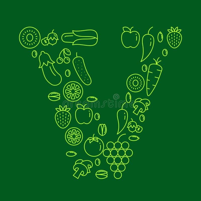在V上写字由水果和蔬菜-储蓄传染媒介做成 向量例证