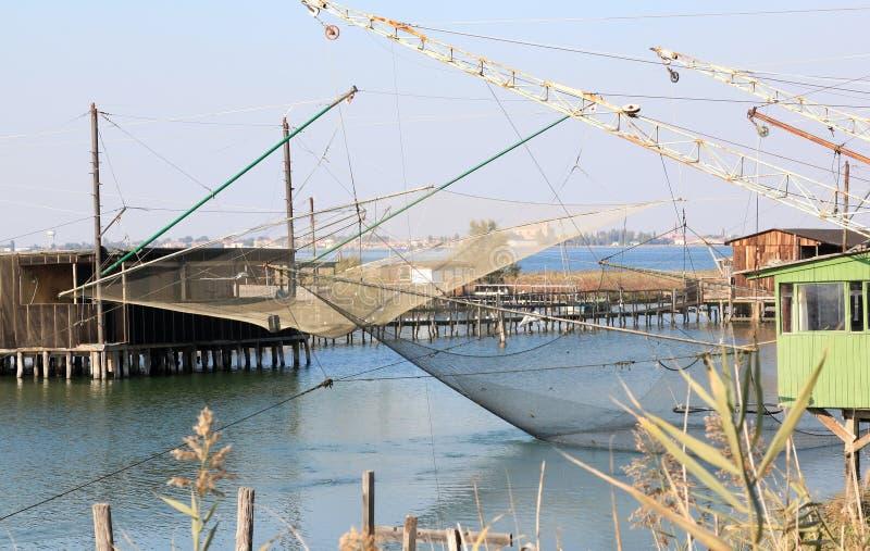 在Valli二科马基奥,意大利的捕鱼业 免版税库存照片