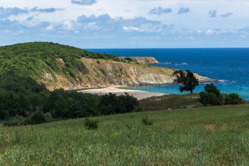 在Veleka河, Sinemorets村庄,保加利亚的嘴的一个海滩 库存图片