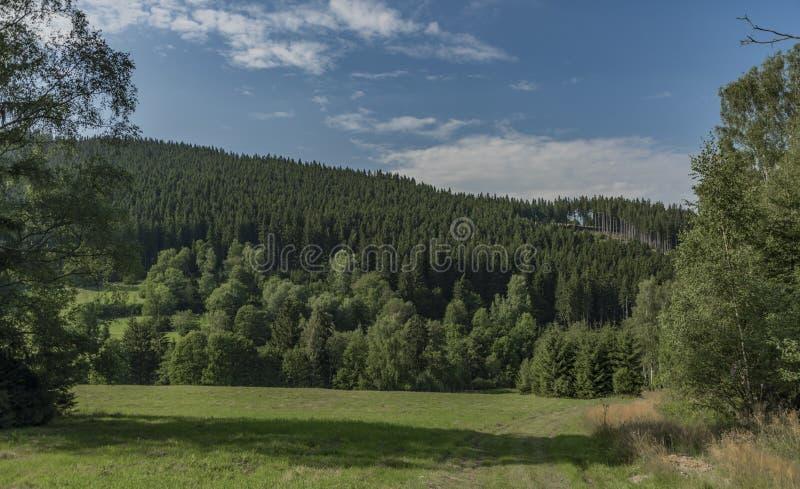 在Velky Javornik附近的彩色视图在摩拉维亚和斯洛伐克边界和Makov村庄 免版税库存图片