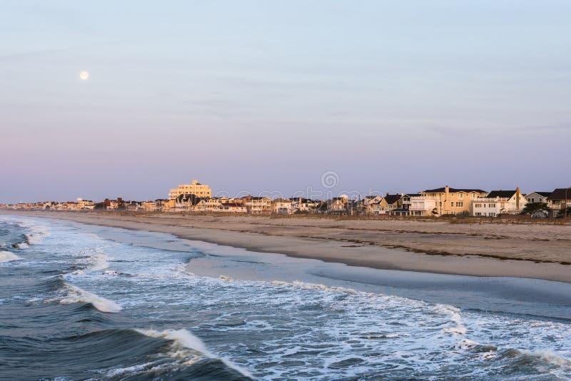 在ventnor城市海滩的沙滩在大西洋城,新泽西a 免版税库存图片