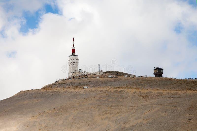 在Ventoux山顶部的meteo驻地 法国 图库摄影