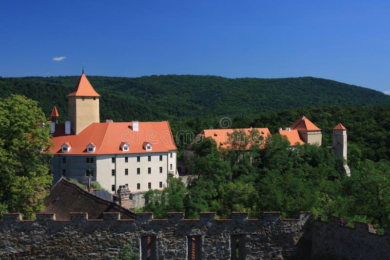 在veveri附近的布尔诺城堡 免版税库存图片