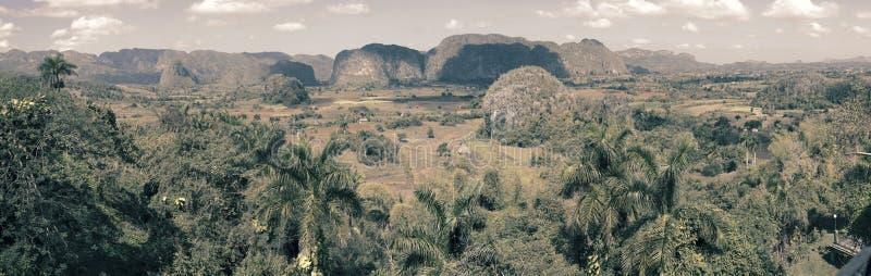 在Vinales谷的全景 古巴 免版税图库摄影