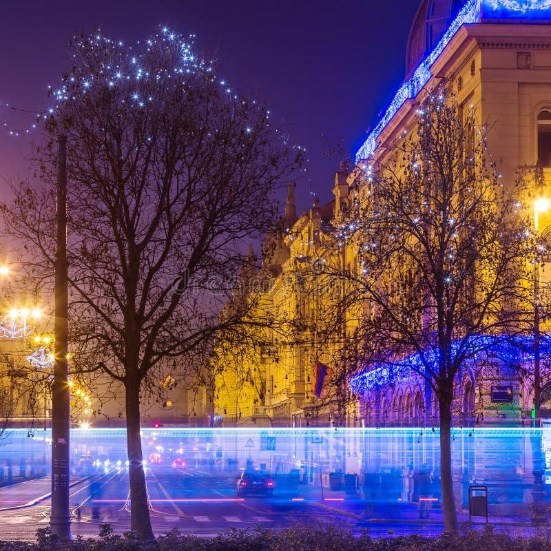 在Vodnikova街道的看法从Tomislav Square,萨格勒布,克罗地亚国王在圣诞节庆祝期间的 库存照片