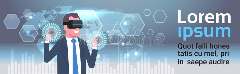 在Vr玻璃的商人使用数字式与世界地图背景虚拟现实技术概念的屏幕接口 向量例证