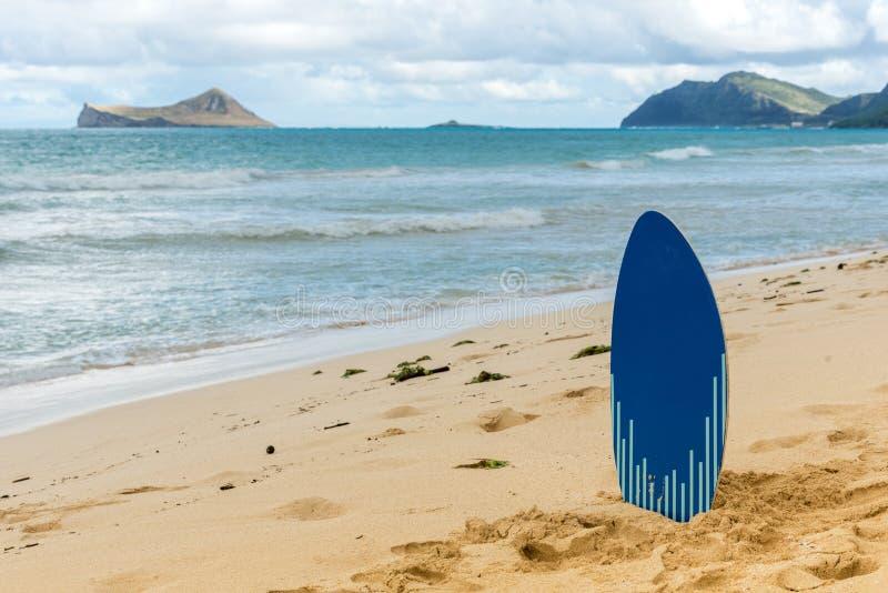在Waimanalo海滩的表面层板在奥阿胡岛,夏威夷 免版税库存照片