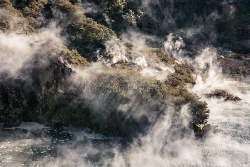 在Waimangu火山的谷的温泉湖蒸上升从开水 免版税库存照片