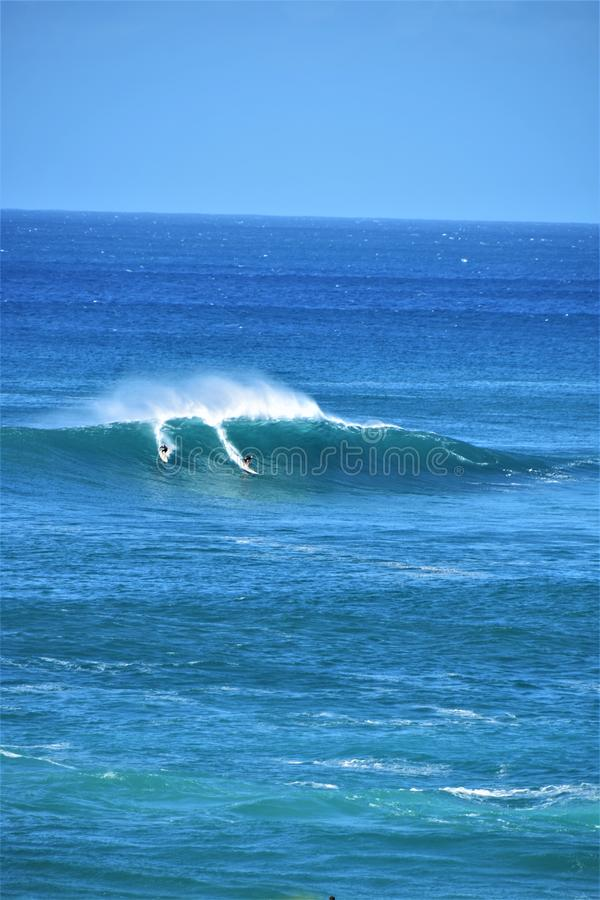 在Waimea海湾,奥阿胡岛,夏威夷,美国的大波浪 库存图片