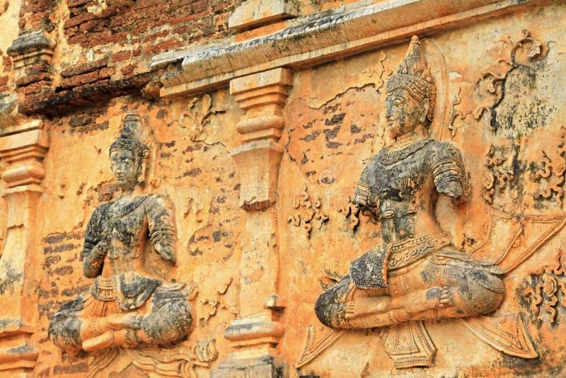 在Wat Jed Yod,清迈,泰国的菩萨图象 免版税库存图片