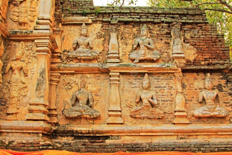 在Wat Jed Yod,清迈,泰国的菩萨图象 库存图片