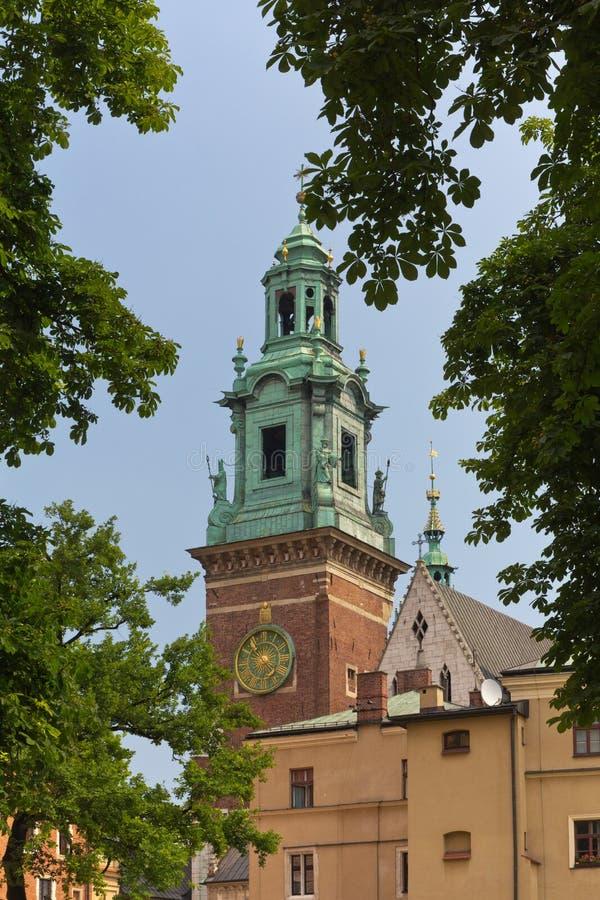 在wawel皇家城堡钟楼的看法在克拉科夫在波兰 库存照片