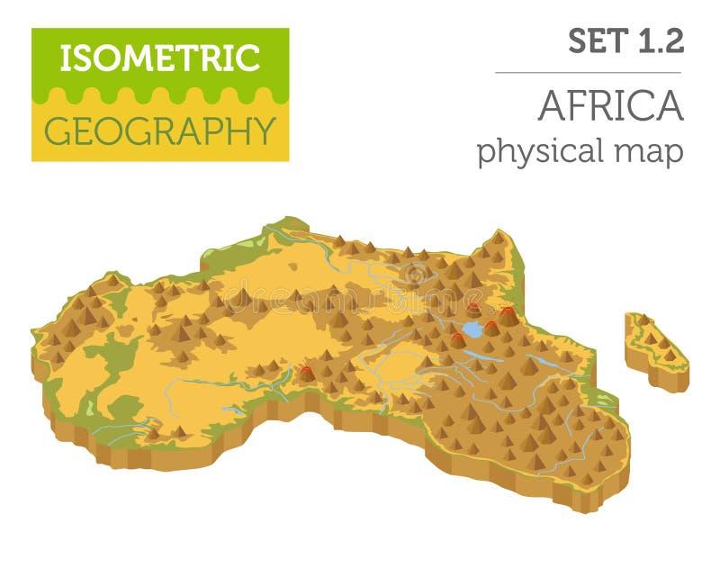 在wh的平的3d等量非洲地图建设者元素 皇族释放例证
