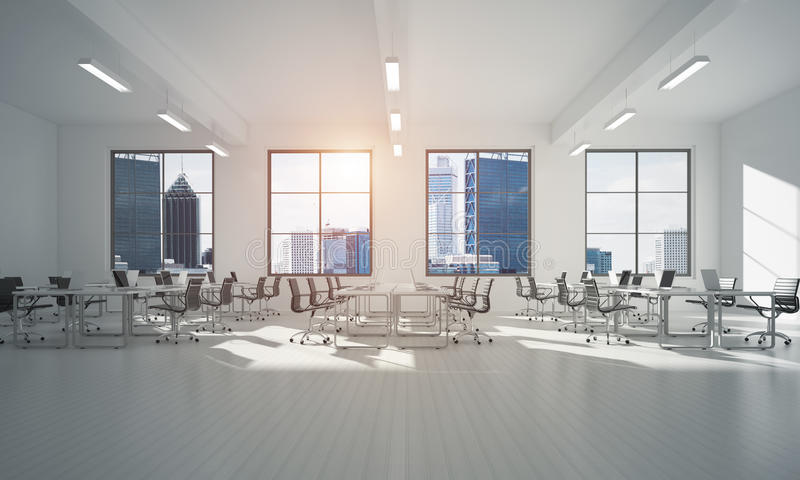 在whire颜色和光的办公室室内设计从窗口的 皇族释放例证