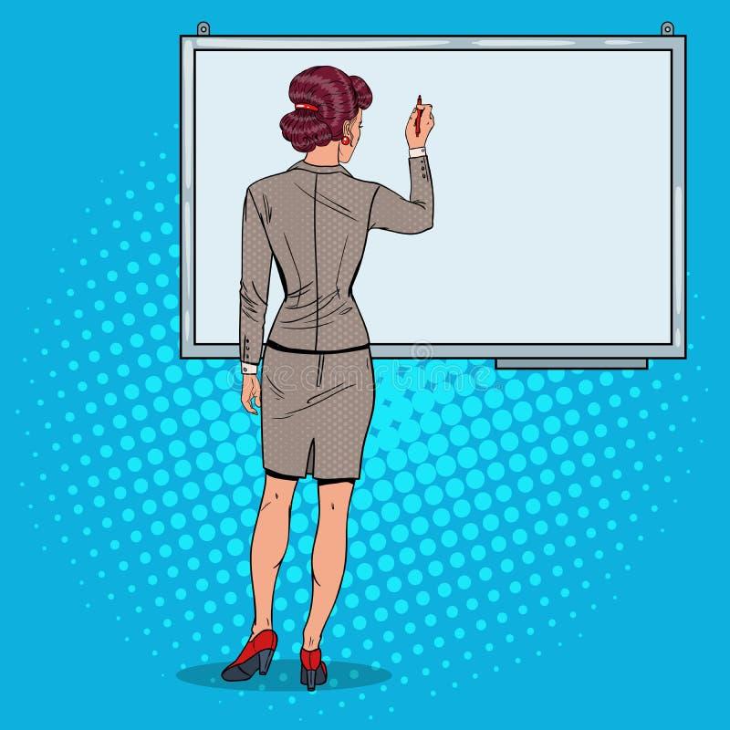 在Whiteboard的妇女图画 3d企业尺寸介绍回报形状三 流行艺术例证 向量例证