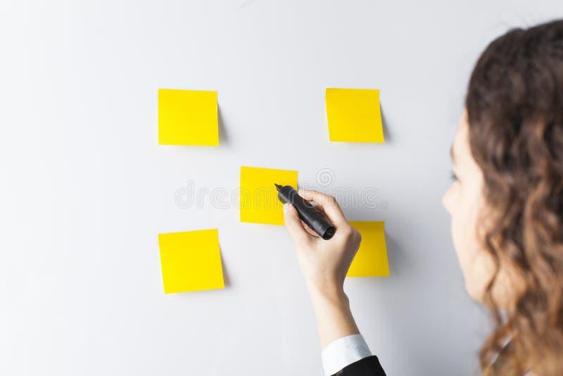 在whiteboard的妇女文字 库存图片