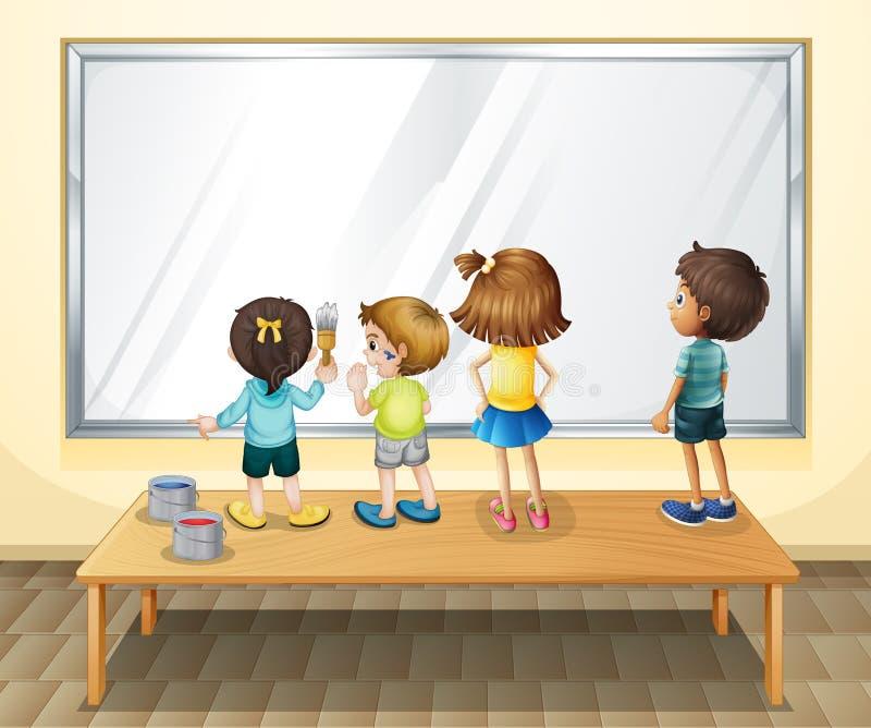 绘在whiteboard的孩子 向量例证