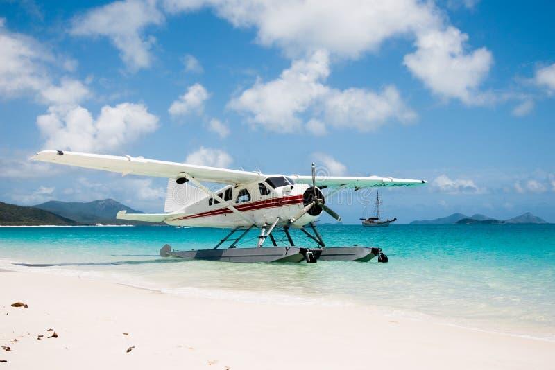 在Whitehaven海滩的水上飞机 免版税库存图片