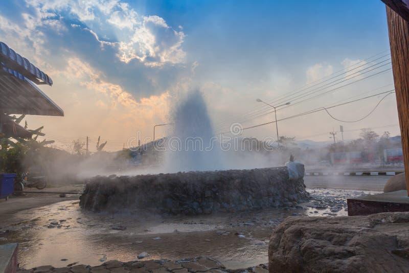 在Wiang Pa Pao清莱泰国的Mae Kajan温泉 库存图片
