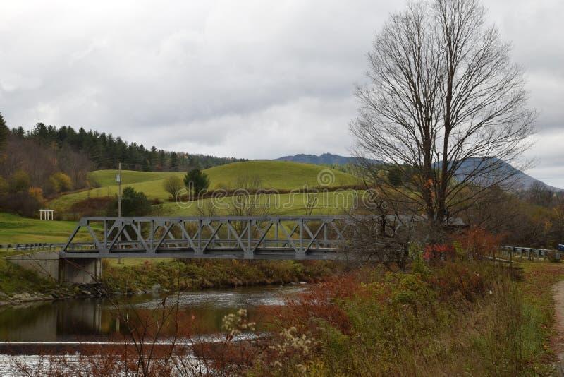 在Winooski河的桥梁, Moretown,佛蒙特 库存照片