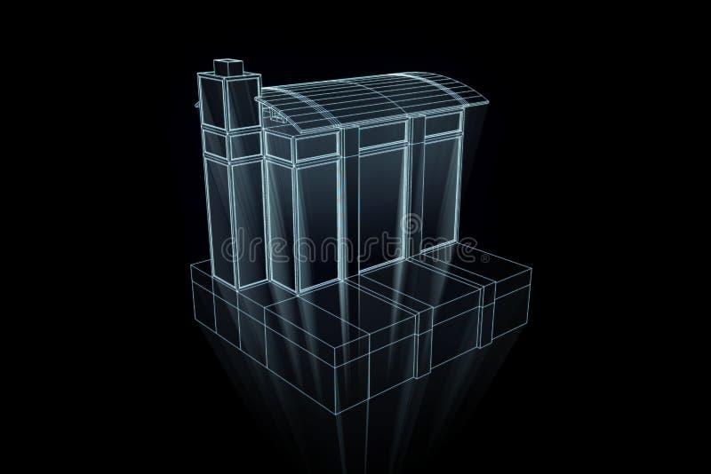 在Wireframe全息图样式的大厦 好的3D翻译 向量例证