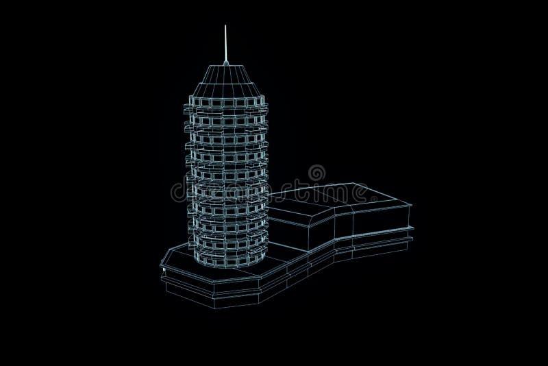 在Wireframe全息图样式的大厦 好的3D翻译 皇族释放例证