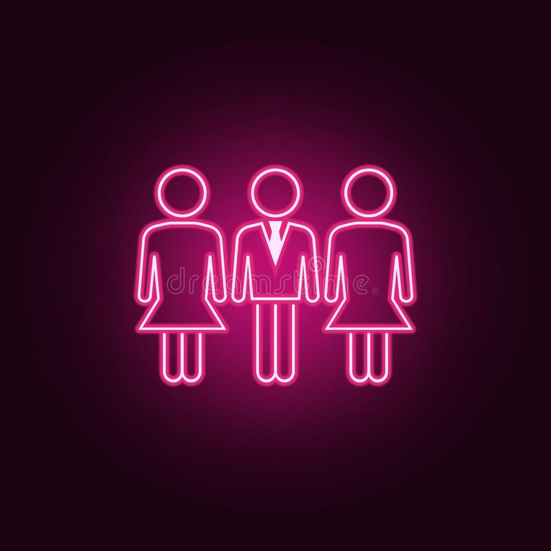 在workneon象的男女平等 人集合的元素 r 皇族释放例证