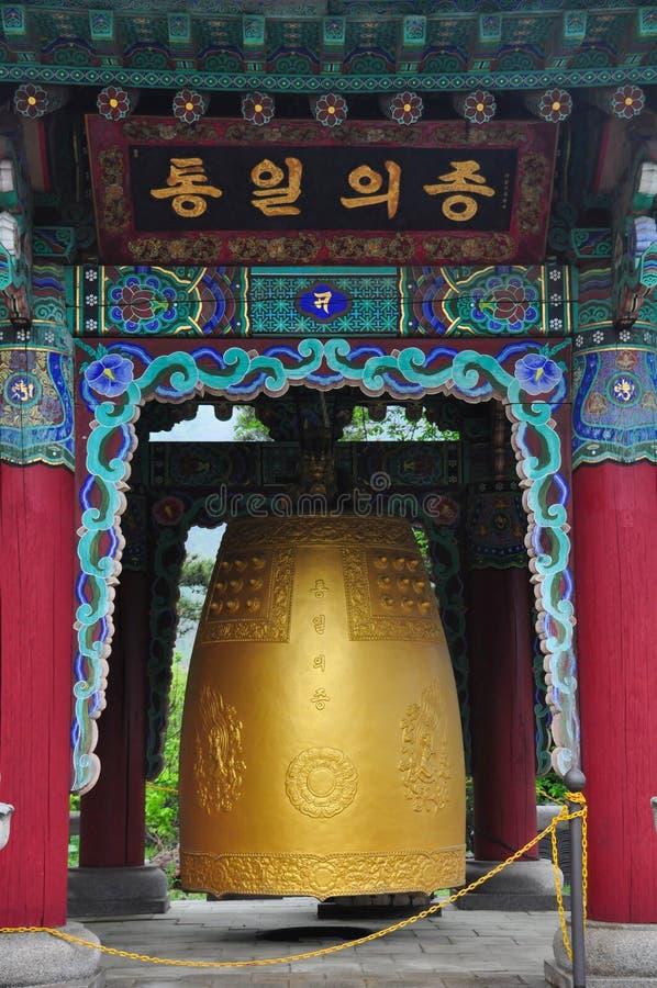 在Wowoojongsa寺庙,韩国的大响铃 库存图片