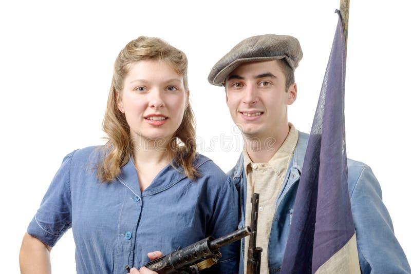 在WWII期间,结合年轻抗性,隔绝在白色 免版税库存照片
