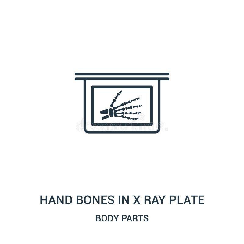 在x光芒板材象传染媒介的手骨头从身体局部汇集 稀薄的线在x光芒板材概述象传染媒介的手骨头 皇族释放例证