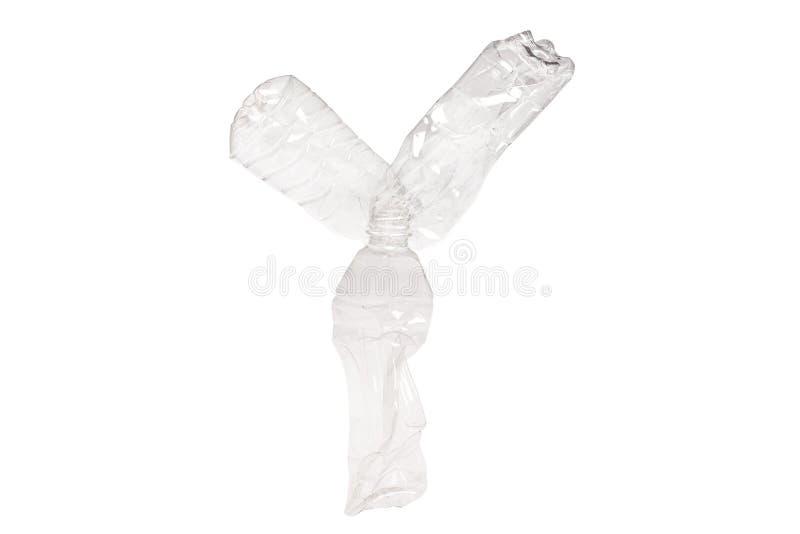 在Y上写字由塑料瓶制成在被隔绝的白色背景 库存照片