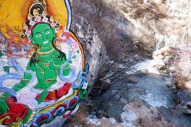 在yading的自然保护,四川的佛教绘画 免版税库存图片