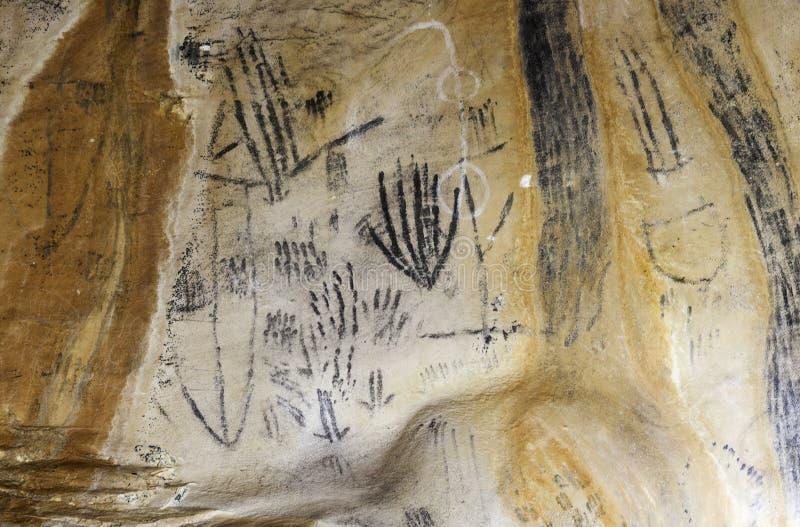 在Yourambulla洞碎片范围澳大利亚的艺术 免版税库存图片