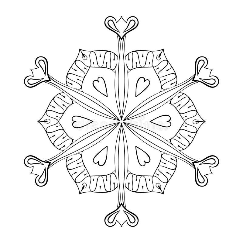 在zentangle样式的传染媒介纸保险开关雪剥落,乱画mandal 向量例证
