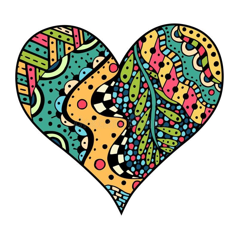 在zentangle样式的心脏 向量例证