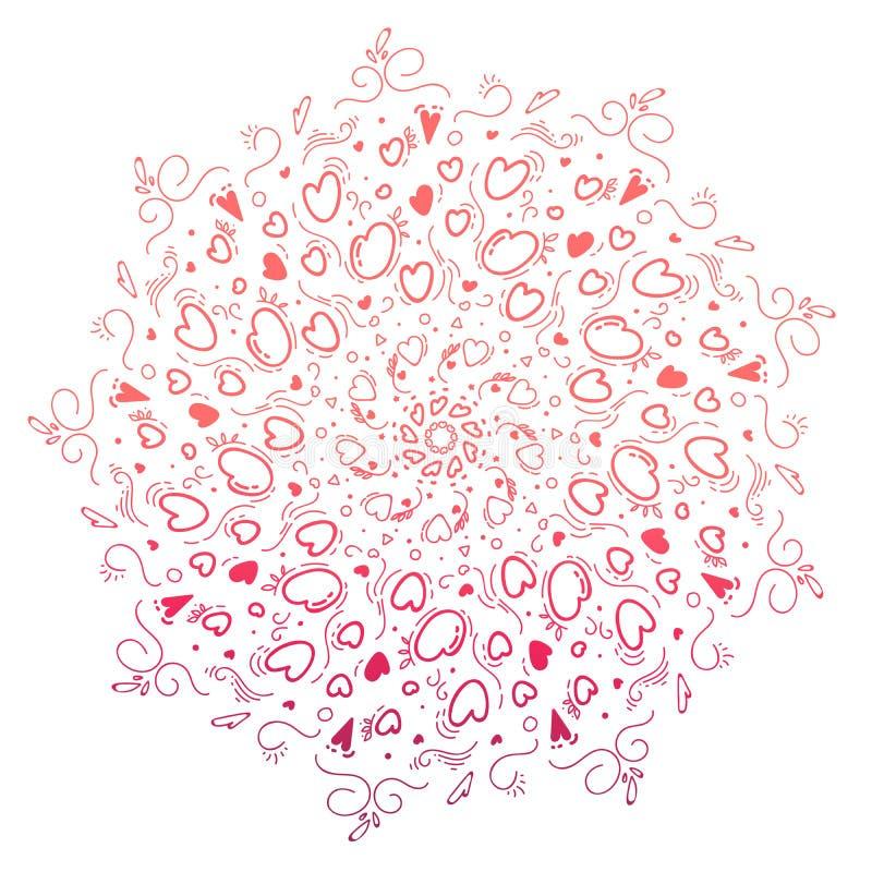 在zentangle样式的手拉的坛场乱画样式 在白色背景隔绝的传染媒介桃红色 禅宗乱画,心脏 着色页 向量例证