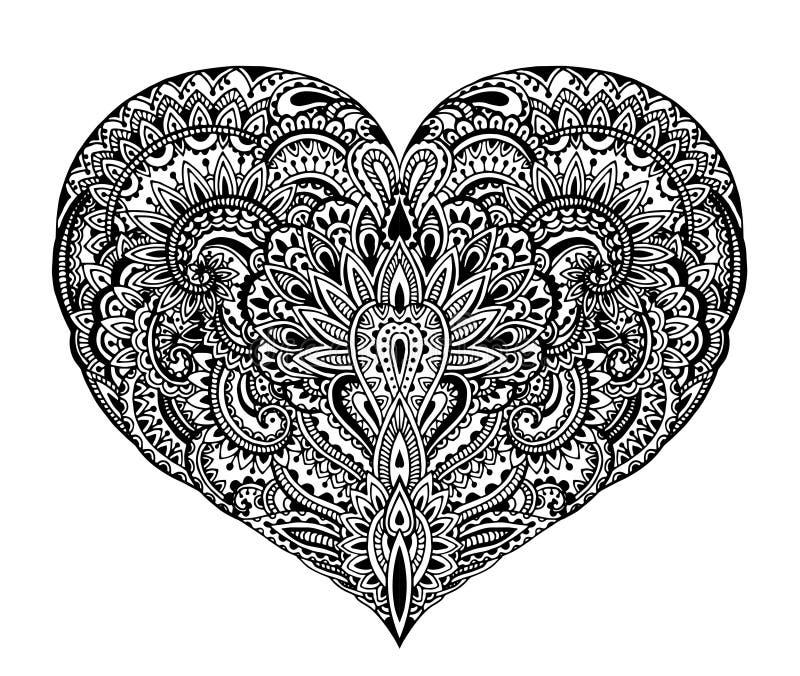 在zentangle样式的美好的手拉的华丽心脏 向量例证
