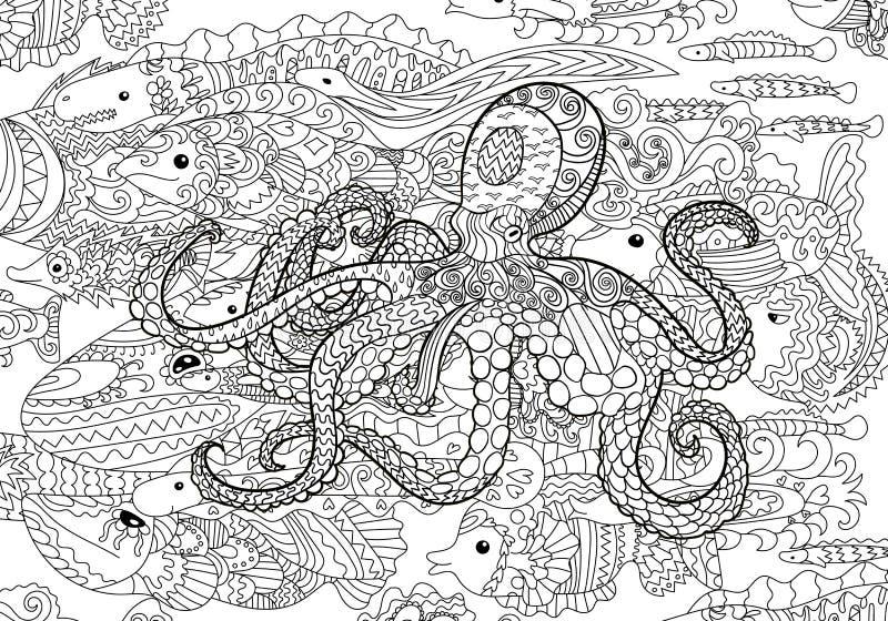 在zentangle样式的水下的海海豚深圳章鱼和馆图片