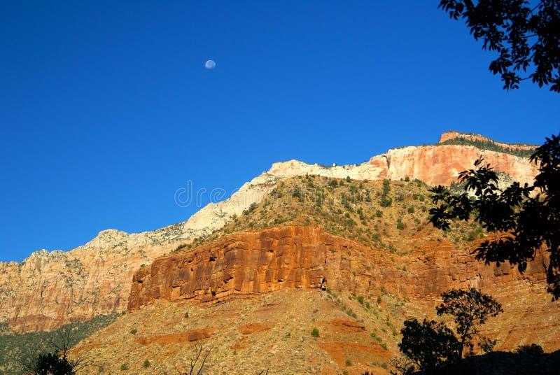 在Zion国家公园的月出 库存照片