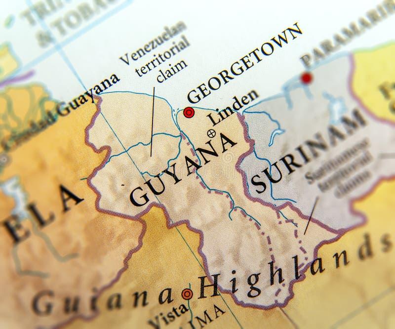 圭亚那国家地理地图有重要城市的 免版税库存照片