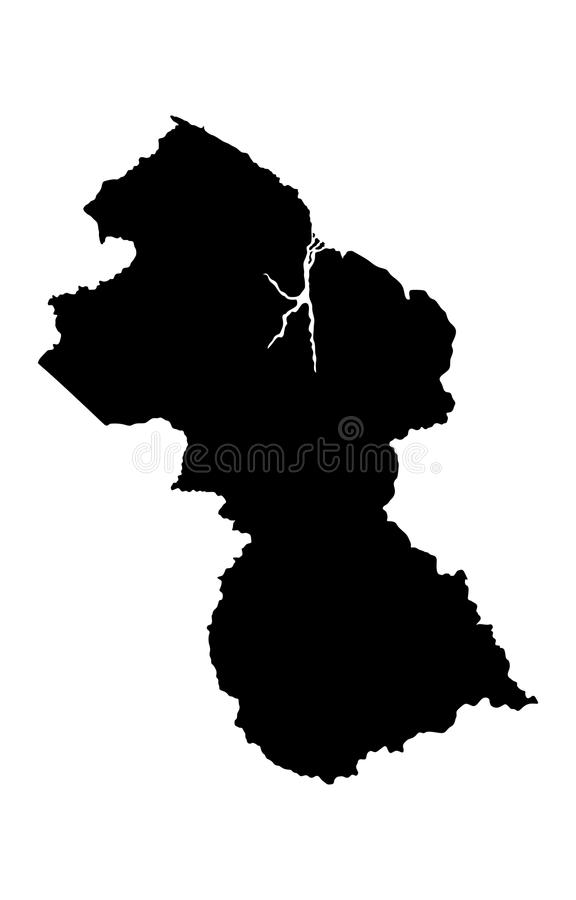 圭亚那地图剪影 库存例证