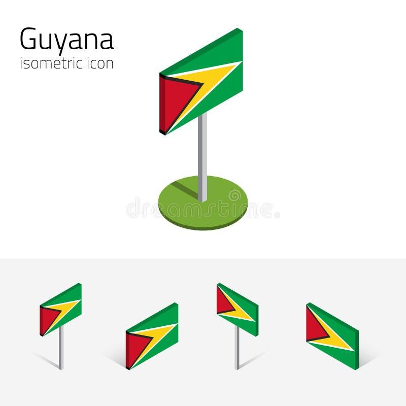 圭亚那旗子, 3D等量象传染媒介套  向量例证
