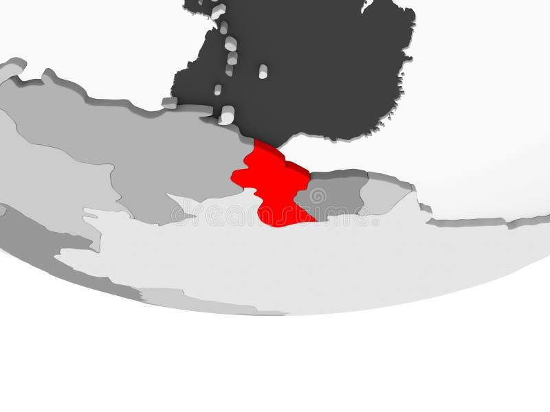 圭亚那的地图灰色政治地球的 库存例证