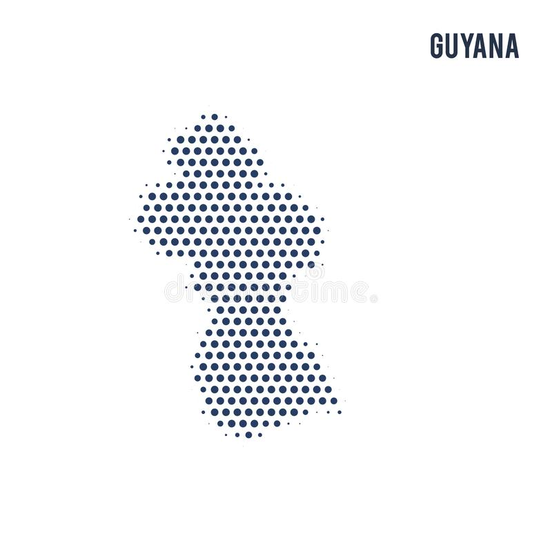 圭亚那的被加点的地图在白色背景隔绝了 皇族释放例证