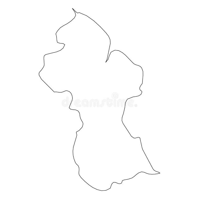 圭亚那-国家区域坚实黑概述边界地图  简单的平的传染媒介例证 库存例证